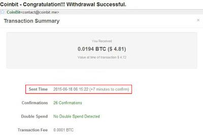 Payout Pertama Dari Coinbit.me